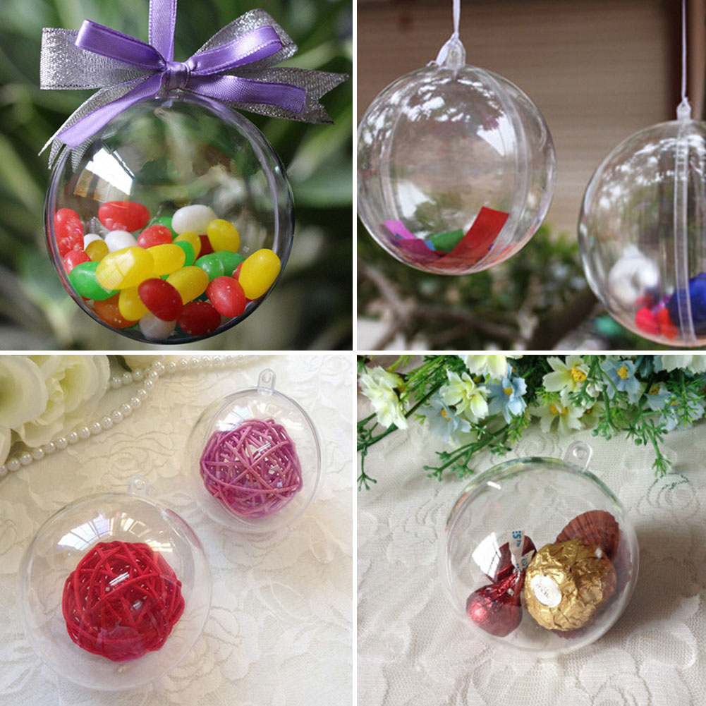 10cm plastic clear christmas decorations hanging ball for Large christmas baubles for outside