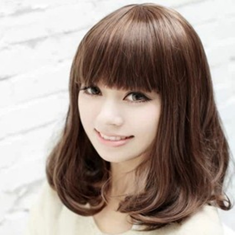 curly medium length wigs lady stylish girl short hair wig flat bangs synthetic neat slightly curled - Uri's Bag Factory store