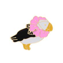 Uccelli del fumetto Eeamel Spilli Spille k Flamingo Picchio Spilla Donne Degli Uomini Giubbotti jeans Cappello Zaino Risvolto Spille Fly Animali Distintivo Regali(China)