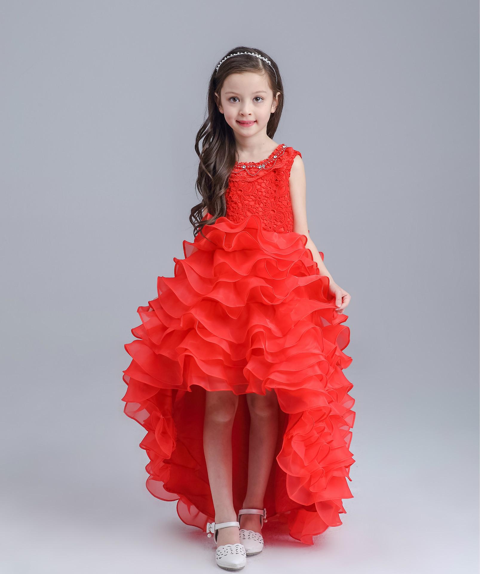 Teenage Long Tailed Girls Summer Dress Kids Girls Red White Wedding Dress Evening Gowns Children Birthday Dress Party Ball Gowns(China (Mainland))