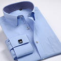 2016 New Spring Autumn Men Elegant French Cuff Dress Shirt Long Sleeve Cotton Muscle Slim Fit