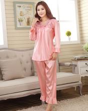 2016 faux silk men's sleep male  full sleeve pajama sets Chinese style red wedding Pijamas women female pyjamas home lounge(China (Mainland))