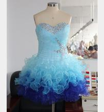 Sexy Ball Gown Graduation Party Sweetheart Crystal Beaded Short Homecoming Prom Dress Above Knee Formal Cocktail Dresses Vestido(China (Mainland))