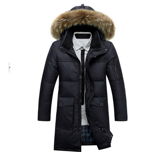 Brand New Arrival Mens Winter Warm Thicken Hood Fur Collar Slim Fit Overcoat White Down Jacket