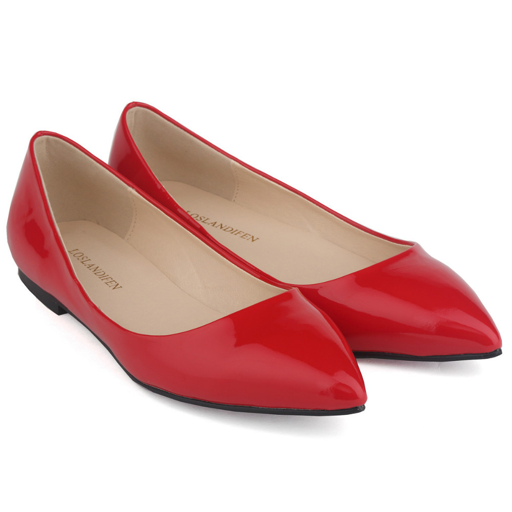 2015 Elegant Spring & Autumn Women Fashion Comfortable Shoes Slip-On Casual Patent Leather Pointed Toe Squre Heel shoes