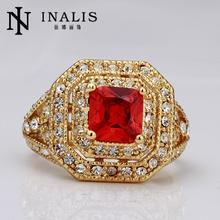 R065 New Arrival Fashion Ruby Jewelry anillos 18K Gold Rings For Women Vintage Wedding Rings Best