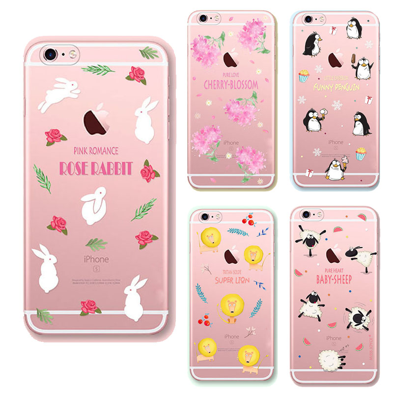 For Apple Iphone 6 6s phone cover baby rose rabbit super lion case soft TPU Transparent cases for iphone 6 back case(China (Mainland))