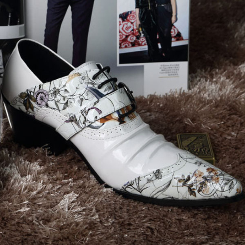 Free Shipping 2014 fashion mens floral print dress shoes genuine leather pointed toe oxfords wedding shoes white clubwear <br><br>Aliexpress