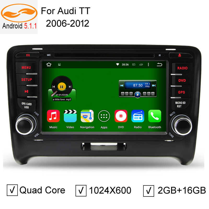 Android 5.1.1 Car Radio for Audi TT 2006-2012 DVD Player with GPS Navigation System BT TV CD 3G / 4G WIFI Touch Screen Audio(China (Mainland))