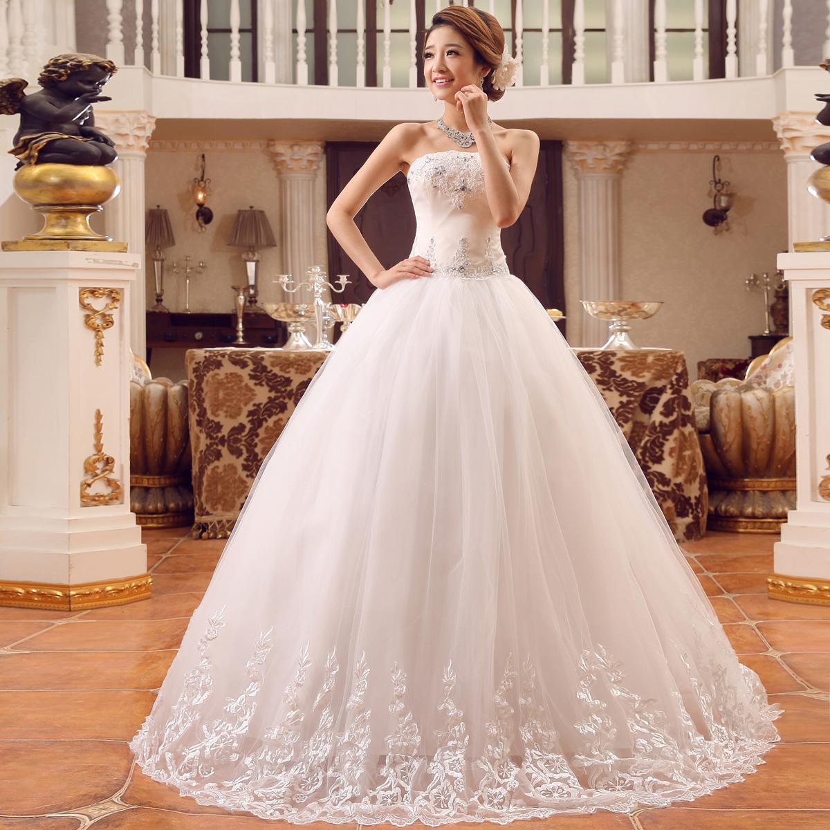 Fashion Wedding Dresses White Lace Embroidery Bow Waist