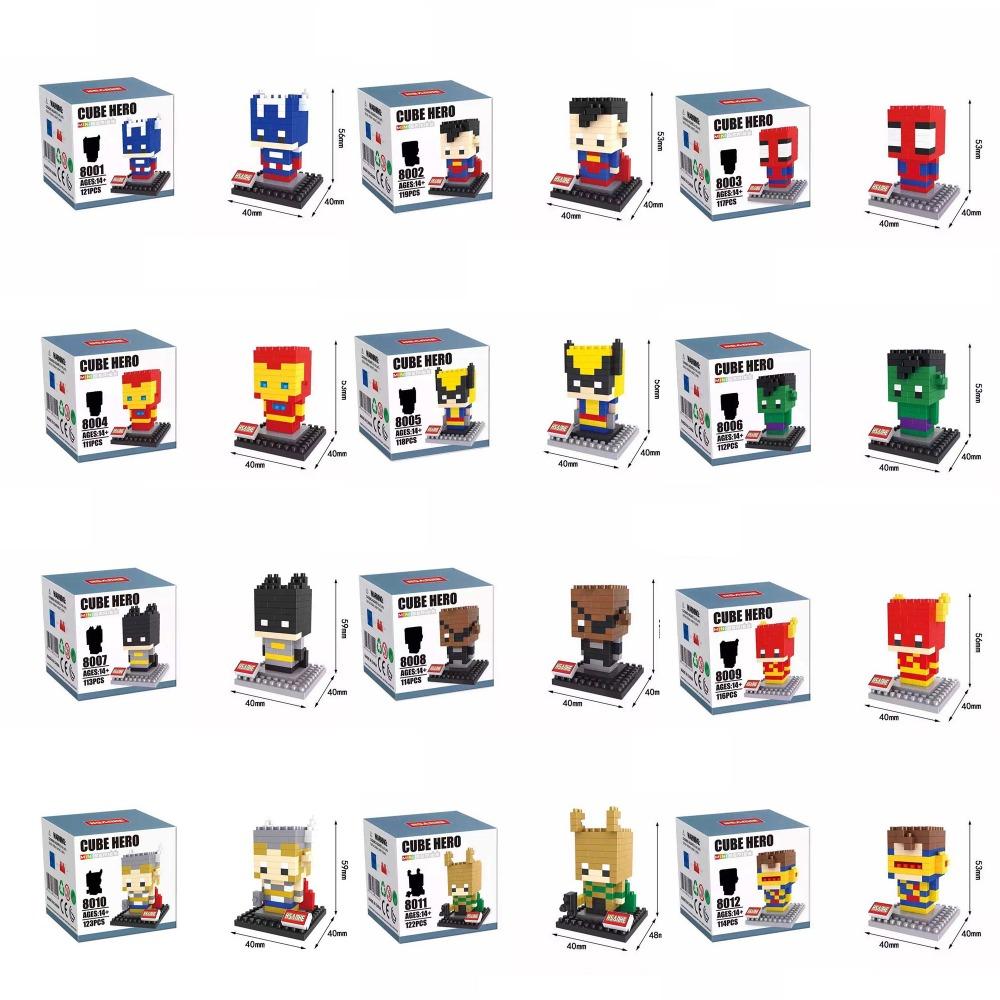 Free Shipping Hsanhe 8001-12 12Set Super Hero 1400Pcs Building Block DIY 3D Brick Toy gift  Minfigure Gift Present Action<br>