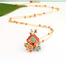France Les Nereides Blue Tit Bird House Necklace For Women Enamel Glaze Good Quality Sweater Necklaces Hot Sale(China (Mainland))