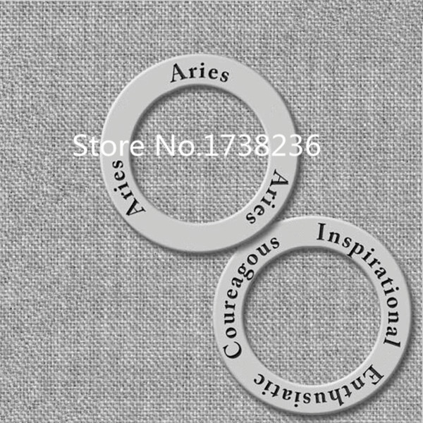 100 Pieces Lots Wholesale Aries Affirmation Ring Message Charm Antique Silver Tone(China (Mainland))