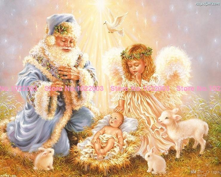 Santa Claus and angel diamond painting square drill rhinestone pasted painting cross stitch masonry rhinestone painting crafts(China (Mainland))