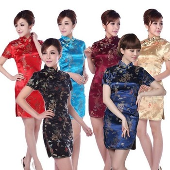 2015 New National Trend Female Tang Suit Cheongsam Fashion Vintage Chinese traditional evening Dress 5Size 6Color qipao