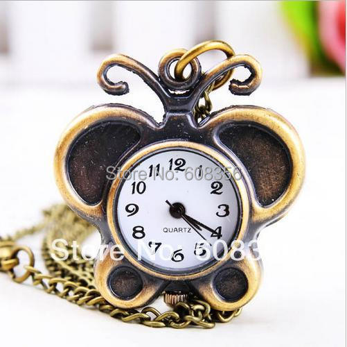 10pcs/lot bronze antique Beautiful pendant quartz butterfly pocket watches necklace good quality(China (Mainland))