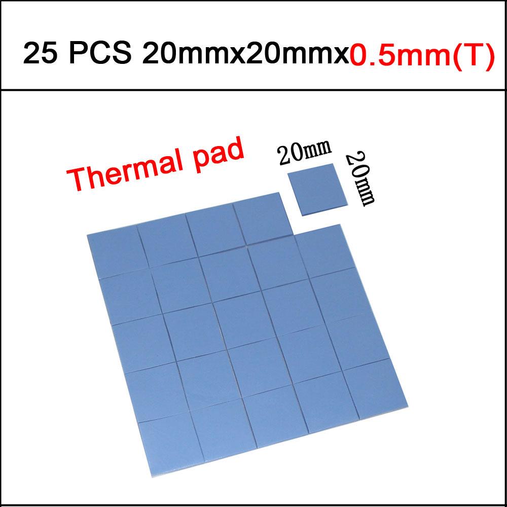 25pcs 20mm*20mm*0.5mm Thermal Pad GPU CPU Heatsink Cooling Conductive Silicone Pad(China (Mainland))