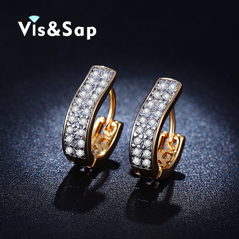 2016 Europe style earring CZ Diamond Hoop Earrings For Women Elegant 18k Gold Plated Vintage Fashion wedding jewelry VSE017(China (Mainland))