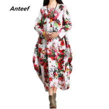 Buy new fashion cotton linen vintage print plus size women casual loose long autumn dress party vestidos femininos 2017 dresses for $15.47 in AliExpress store