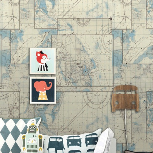 Nautical World Map Wallpaper Sea Map World Nautical Mural