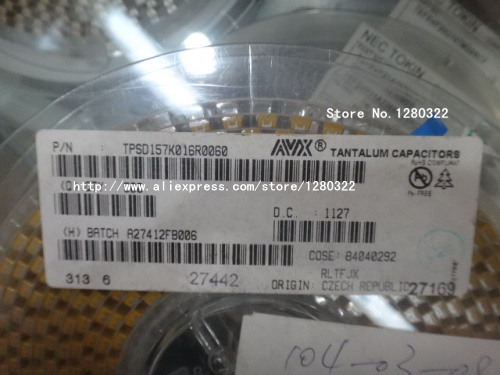 Free Shipping TPSD157K016R0060 10pcs CAP TANT 150UF 16V 10% 2917 Tantalum capacitor NEW Products and ROHS(China (Mainland))