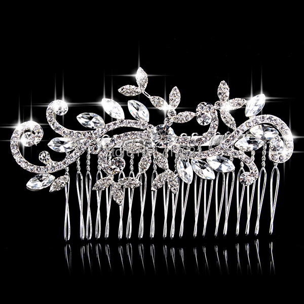 New Flower Sparkling Austrian Crystal Wedding Tiara Handmade Silver Plated Leaf Bridal Hair Comb Jewelry Accessories(China (Mainland))
