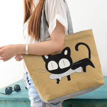 2015 Hot Sale, 1PC New Trend American Apparel Women Bags Cute Canvas Shoulder Bag Cat Print Casual Messenger Shopping Bag(China (Mainland))