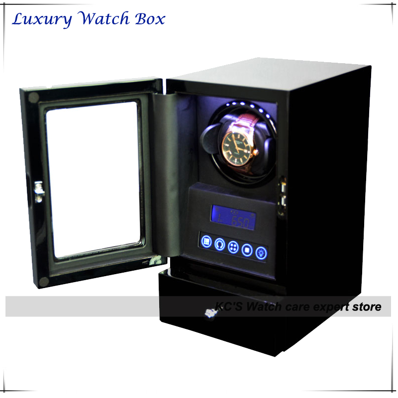 New Arrival Quality Wooden Automatic Watch Winder for RLX with LED light LCD Display Remote Control GC03-S20(China (Mainland))