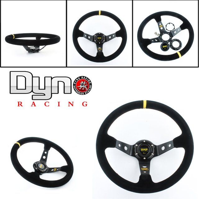 Dyno racing 14inch 350mm OMP Deep Corn Drifting Steering Wheel / Suede Leather