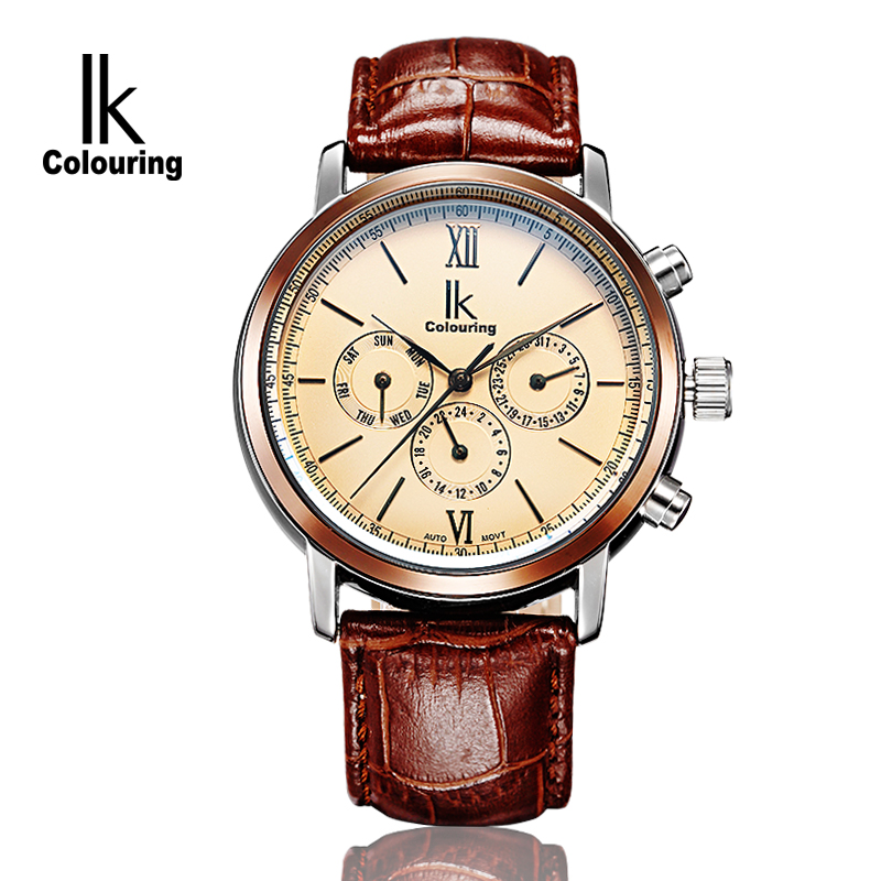 2015 New LK Men Mechanical Automatic Self-wind Sports wristwatches Leather Luxury Brand Top relogios military Business watches - ShenZhen Smart Electronic Jewelry Store store