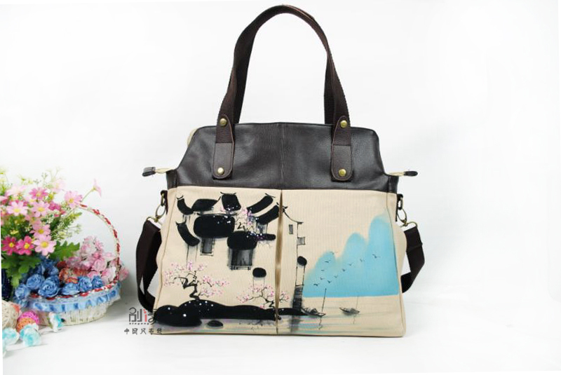 2015 TOM Canvas Handbag Freeh and Sketching Individuality Chinese Style Unique Design Colored Drawing Ink And Wash Painting CHW3<br><br>Aliexpress