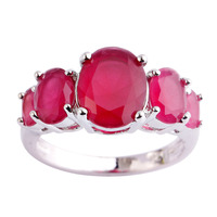 lingmei Wholesale Fashion Lady Oval Cut Ruby Silver Ring Size 6 7 8 9 10 11 12 13 Beauty Women Wedding Jewelry Free Shipping