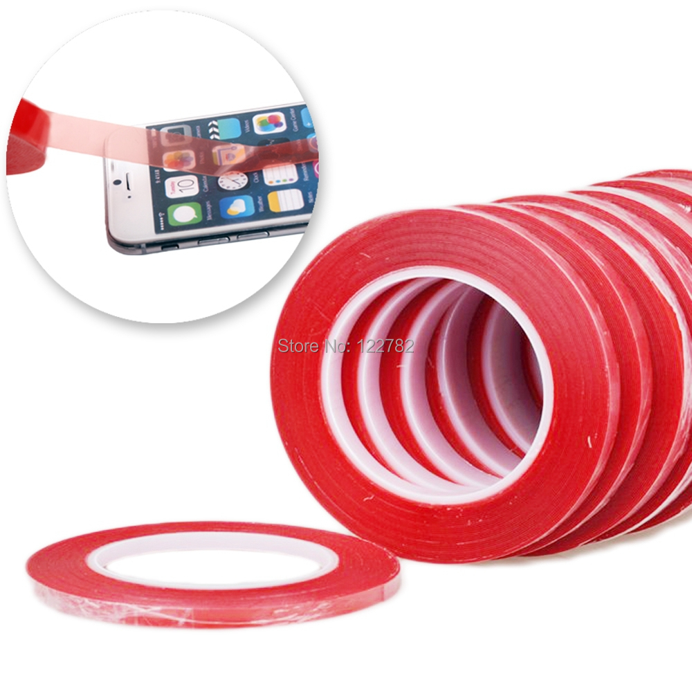 1Roll 2mm*25m High Strength Acrylic Gel Adhesive Double Sided Tape Red Adhesive Tape For iphone Mobile Phone Stickers LCD Screen(China (Mainland))