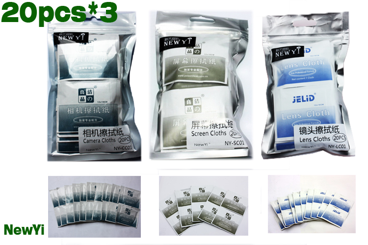 3 in1 hot Camera Cloths Lens Screen Dust Removal Cleaning Wipes Paper Set with Sole professional formula 60 pcs Free Shipping(China (Mainland))