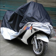 HIgh Quality Waterproof Outdoor UV Protector Motobike Rain Dust Cover Bike Motorcycle Cover Black and Silver Size L