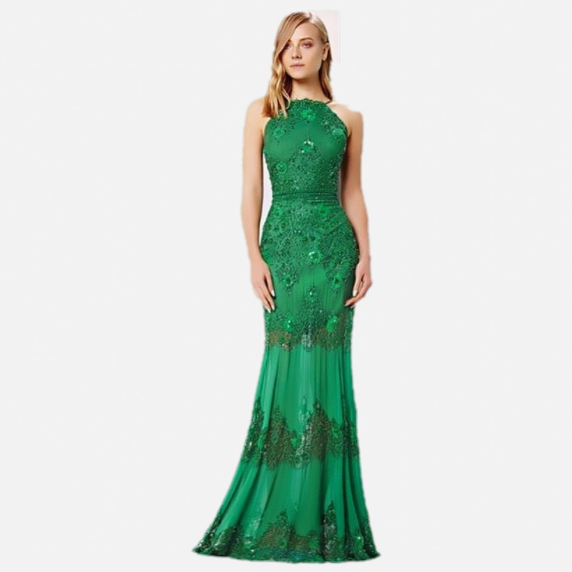 2015 New Arrival Women Fashion Formal Mint Emerald Green Evening Dress With Crystals For Prom