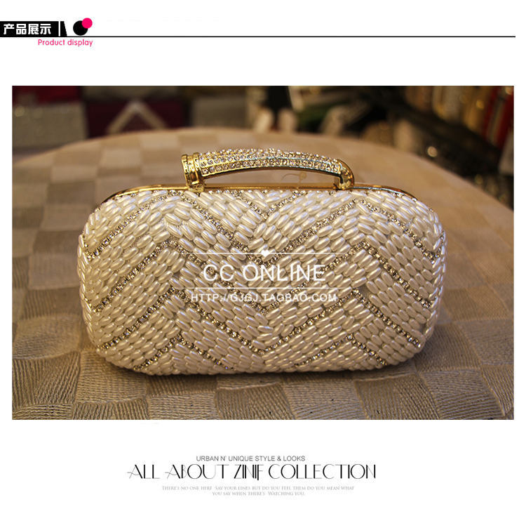 Роскошь жемчуг сцепление портмоне марка женщины вечернее мешок с цепь дизайнер женщины бусины мешок 656N(China (Mainland))