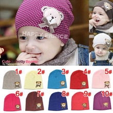 baby hat Lovely Kids Infant Baby Boys Girls Unisex Beanies Hat Bear labeling Cap 9 Colors For baby hats(China (Mainland))