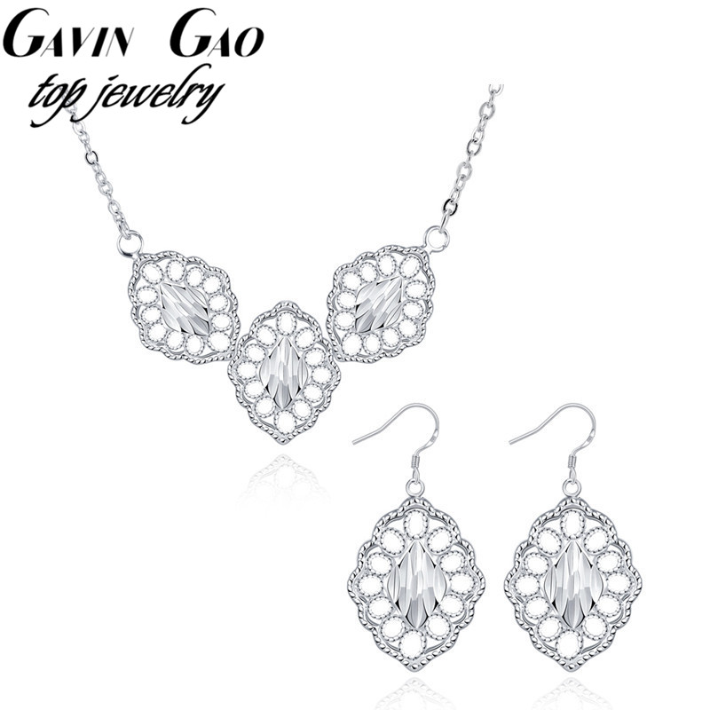 Delicate Silver Plated Hollow Out Leaf Earrings&Necklaces Wedding Jewelry Sets For Women/Girls Christmas Gift(China (Mainland))