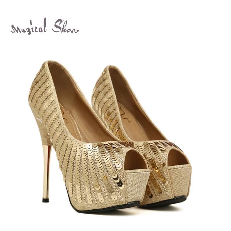 Shiny Gold Sequined Ladies High Heels 2015 Summer Open Toe Women Pumps Platforms Red Buttom Wedding Gold Paillette Shoes(China (Mainland))