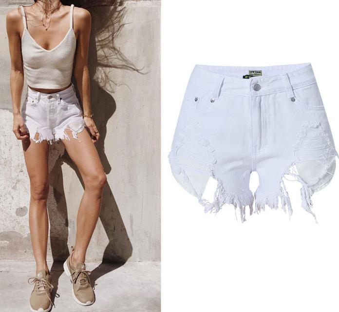 White Jeans Shorts Womens Cotton Denim Short Jeans Tassels Ripped Sexy High Waist 2016 Europe Brand Female Cowboy Shorts 32 42(China (Mainland))