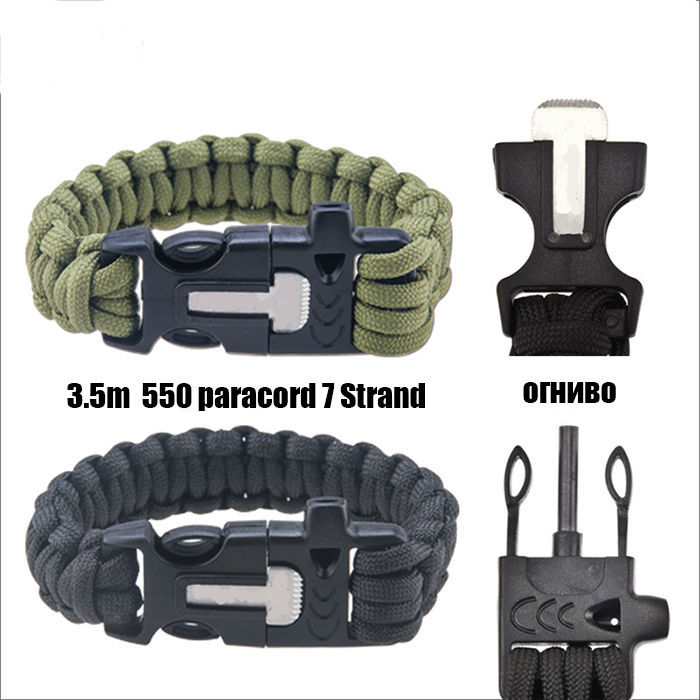 Flint Fire 4 in 1 Survival Flint Fire starter paracord Whistle Gear Buckle Camping ignition Equipment rescue rope(China (Mainland))
