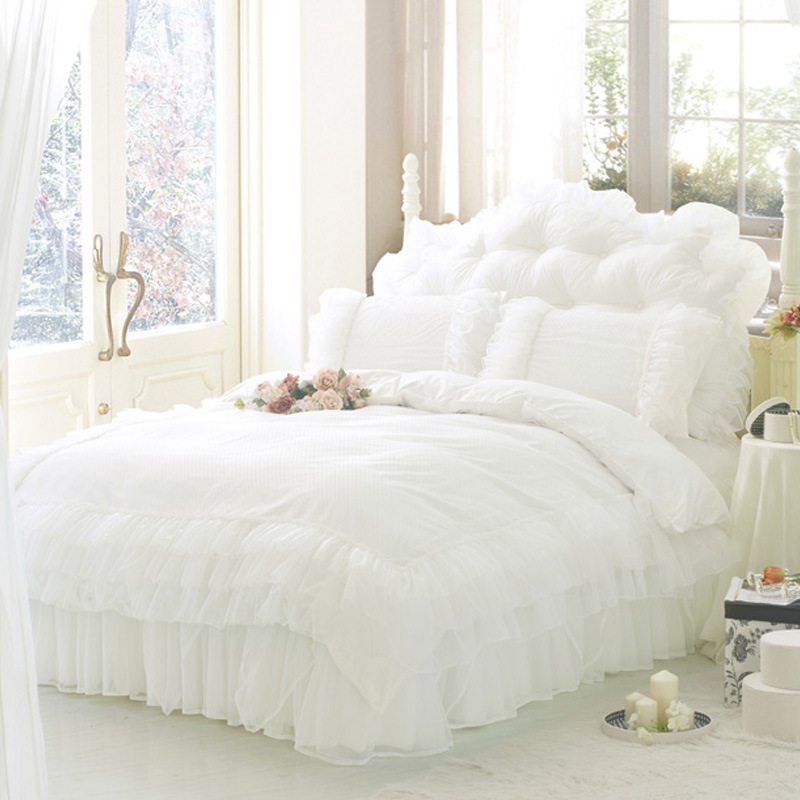 Buy Luxury White Princess Lace Bedding Set Twin Queen King