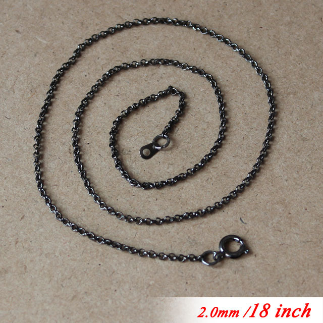 For Jewelry Necklace Links Pendants 18 Metal Gunmetal Black Sterling 2mm Circle Rolo Chains With Round Clasps Connectors New<br><br>Aliexpress