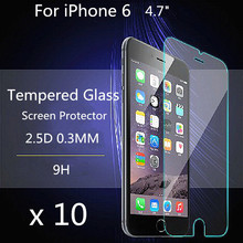 10 pieces 4.7″ 2.5d 0.3mm For Alppe iPhone 6 Tempered Glass Screen Protector for iPhone 6s ipone Toughened protective film guard