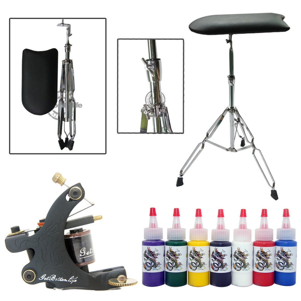 Tattoo Arm Leg Rest Adjustable Chair 7 Color Inks Pigment Tattoo mahcine gun set(China (Mainland))