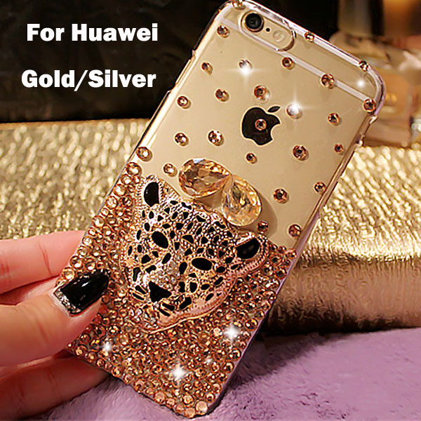 Diamond 3D Leopard Case Cover For Huawei Honor 6 plus 7 5X 4X 3C 4C 4A Ascend P6 P7 P8 Lite Mate 7 8 Hard Plastic Phone cases(China (Mainland))