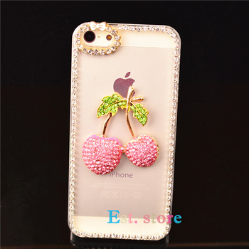 cherry diamond bling case for apple iphone 5 5S 6 plus 4 4s iphone5 case samsung galaxy S5 S4 mini S3 grand duos i9082 note 2 3