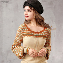 Artka Women's 2015 Autumn New O-Neck Full Sleeves Pullover Patchwork Wool Casual Elegant Sweater Y015155Q(China (Mainland))