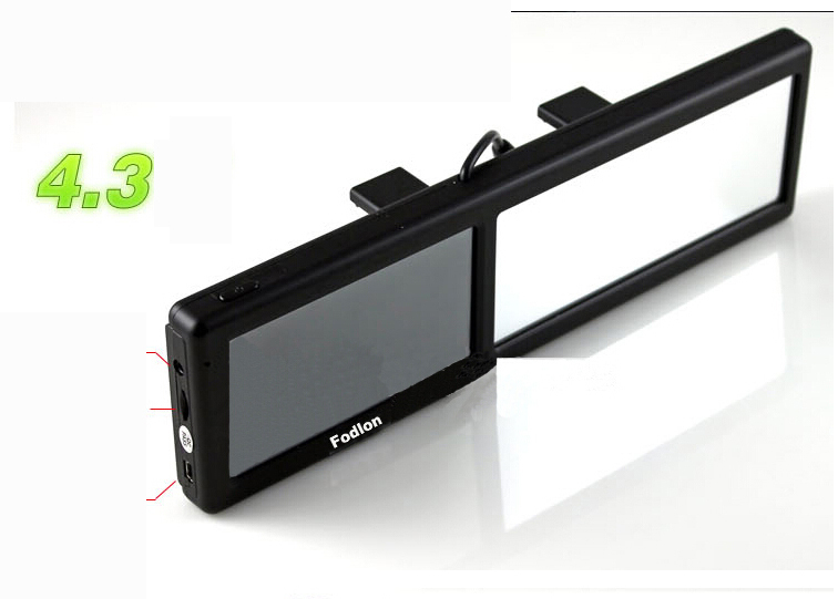 4.3 inch car gps+rear-view mirror navigation FM transmiter Built in 4GB Memory(China (Mainland))